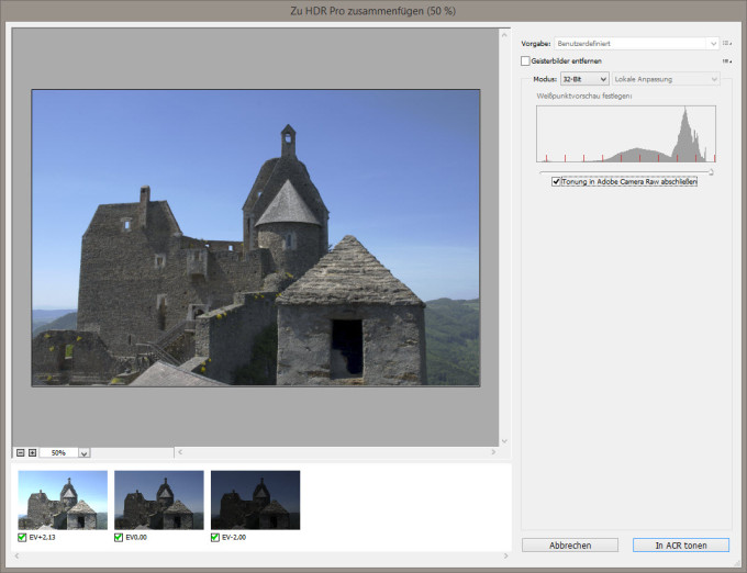 HDR Dialog in Photoshop CC