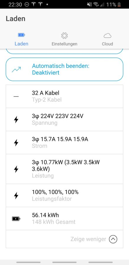 go-eCharger App auf dem Android Smartphone