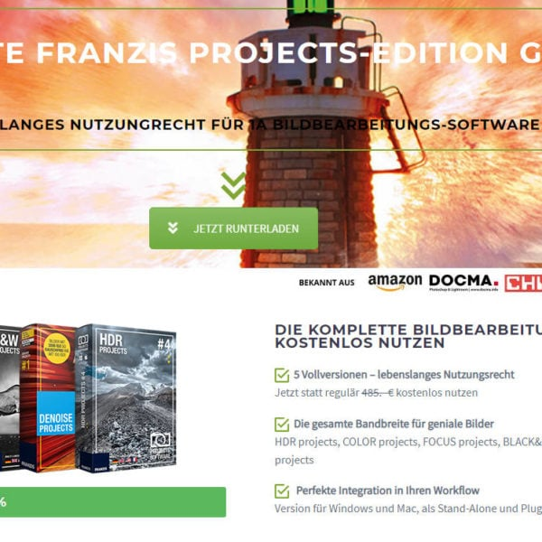 Kostenlose Fotosoftware-Pakete von Franzis sichern