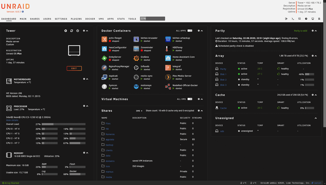 Unraid Dashboard