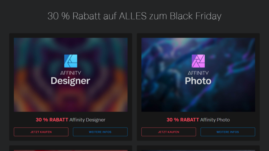 Photoshop-Alternative Serif Affinity Photo 30 % günstiger